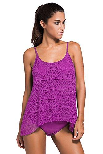 (ZKESS Womens Swim Top & Bikini Bottoms Casual 2PCS Padded Swimwear Bathing Suit Large Size Light Purple)