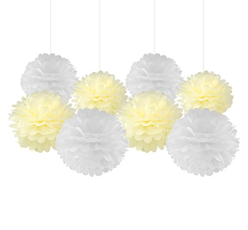 White Mixed Cream Tissue Paper Pom Pom Paper Flower Pom for Baby Shower Wedding Birthday Celebration Table Wall Decoration (Blue Ovo Table Lamp)