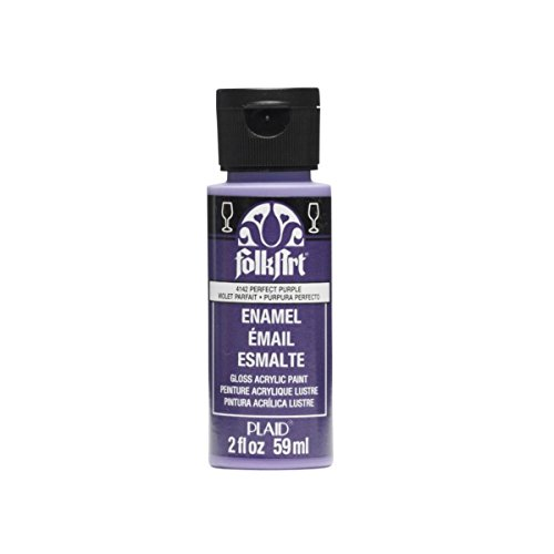 Assorted Enamel - FolkArt Enamel Glass & Ceramic Paint in Assorted Colors (2 oz), 4142, Perfect Purple