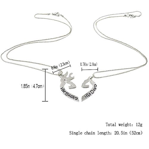 Grenf® Fashion 2016 Various Birthday Gift Heart Deer Head Horn Necklace Heart Shape Elk Splice Necklace Animal Skull Pendant for Couples (Heart Deer Chain Set - Silver(one pair)) (Mens Buck Necklace)