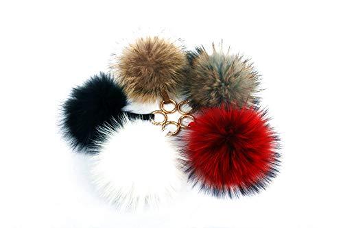 BLUE MONSOON Lovely Soft Fluffy Ball Key Ring for Car Key Holder Women Bag Hanging Pendant Girls Phone Decoration