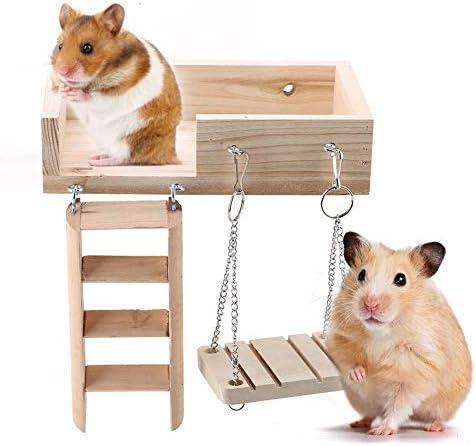 Sheens 3 Unids Madera Hamster Swing Platform Juguetes Set Pequeño Animal Jaula de Juguete Escalera de Arrastre Accesorios Divertidos para Gerbil Rata Chinchillas Conejillo de Indias Ardilla: Amazon.es: Productos para mascotas