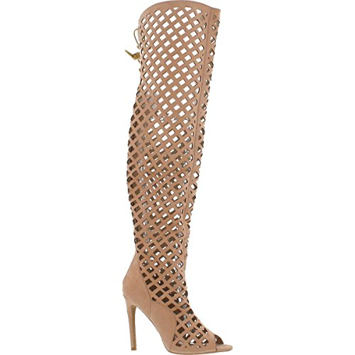 Cr Elnora Gladiator Open Toe Lace Back Full Zipper Thigh High Stiletto Heel Boot Nude 11]()