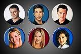 Friends TV Show Pins Magnets Series Set of 6 Rachel Green Ross Geller Monica Geller Joey Tribiani Chandler Bing Phoebe Buffet 10 years fridge (Pins, 1.75 Inch Round)