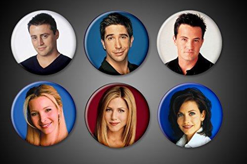 Friends TV Show Pins Magnets Series Set of 6 Rachel Green Ross Geller Monica Geller Joey Tribiani Chandler Bing Phoebe Buffet 10 years fridge (Magnets, 1.75 Inch Round) (Best Friend Fridge Magnets)