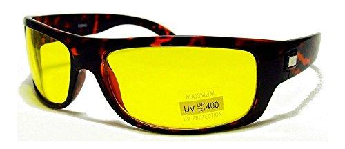 Tortoise HD High Definition Vision Driving Sunglasses WrapAround Yellow Night Glasses - 3 Ansi Z80