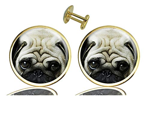 ecowcow Custom Classic Jewelry Tuxedo Shirt Gold Cufflinks Men's Unique Business Wedding Gifts (Dog Bulldog Pug)