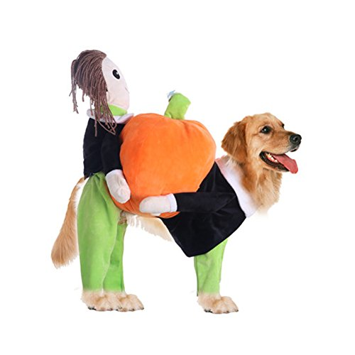 WeeH Dog Costume Halloween Clothes Cat Costumes Pets Ride-on Clothing Funny Cosplay Accessories for Animal Doggy Kitty Rabbits Pig Piggy Christmas Gift, Pumpkin, (Pig Dog Costumes Halloween)