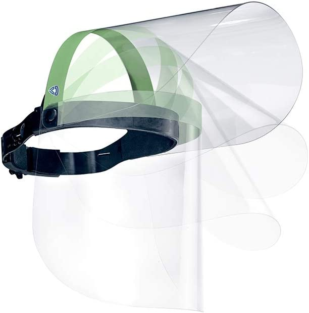 GR/ÜN Face shield klappbar verstellbar Gesichtsschild Gesichtschutzvisier Gesichtsvisier Mundschutz Qualit/ät aus /Österreich ULBRICHTS Faceshield GR/ÜN mit Ersatzvisier Kaufen beim Profi