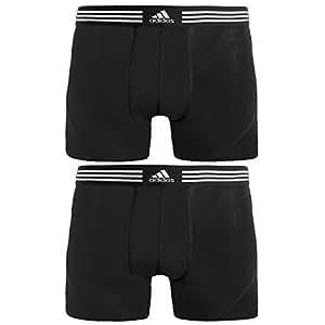 adidas Men's Athletic Stretch Trunk Underwear (2-Pack), Black, Small