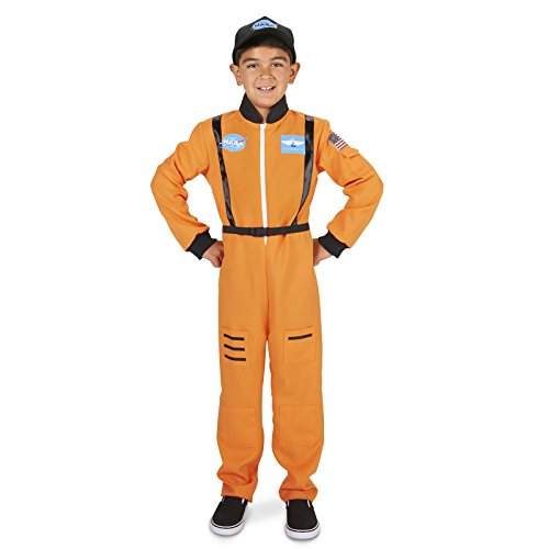 Orange Astronaut Child Dress Up Costume M (8-10) - Orange Costumes For Kids
