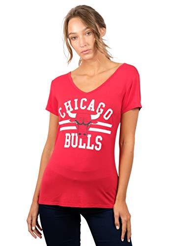 NBA Chicago Bulls Women's T-Shirt Relaxed Short Sleeve Tee Shirt, Medium, Red