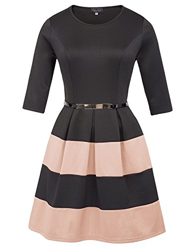 (Women Vintage Stretchy Striped Working Party Dress with Belt Pink)