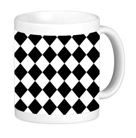 Black and White Diamond Pattern 11 ounce Ceramic Coffee Mug Tea Cup