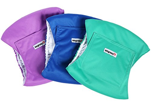 Wegreeco Washable Male Dog Belly Wrap - Pack of 3 - (Blue,Green,Purple,X-Large) from Wegreeco