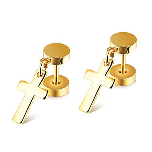 Chryssa Youree Mens Womens Stainless Steel Jewelry Polished Cross Stud Earrings Set Ear Piercing Plugs Tunnel Punk Style(ED-46) (gold)