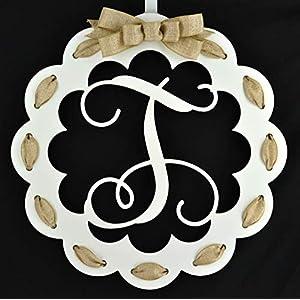 Letter T - Monogrammed Door Hanger | Mom Gift | White and Burlap Everyday Year Letter Door Hanger 60