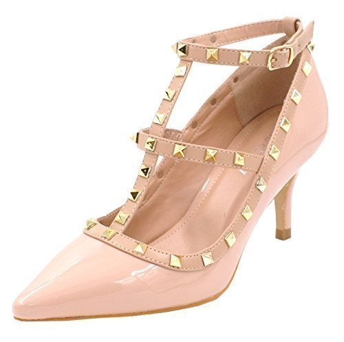 SHU CRAZY Womens Ladies Faux Patent Leather Studded Low Stiletto Heel Party Evening Dressy Fashion Court Shoes - F44 Nude