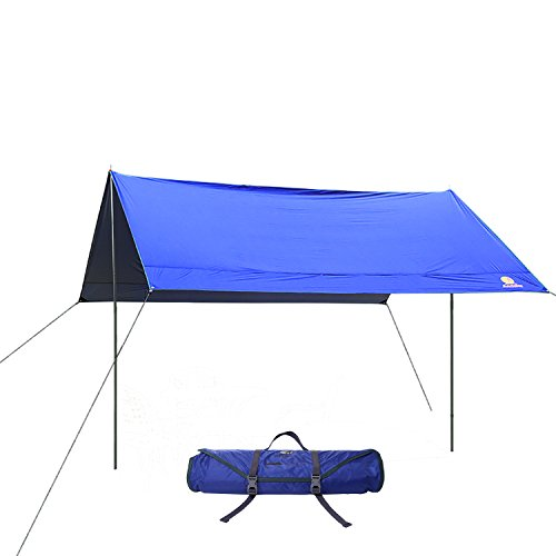 Andake Waterproof Camping Hammock Tarp / Family Tent Rain Fly / Sunshade Shelter Cover for Camping, Hiking, Traveling, Picnic and Beach – Foldable Mat Tarp and Tent Accessories