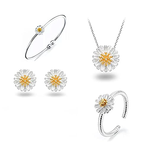 925 Sterling Silver Daisy/SAKURA/Snowflake Flower Crystal Pendant Necklace Earring Bracelets Ring Set for Women (Fresh Love As Daisy (Sterling Snowflake Earrings)