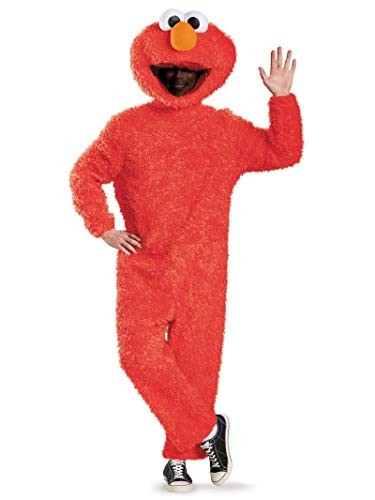 Football Player Halloween Costume Guys (Disguise Men's Full Plush Elmo Prestige Adult Costume, Red,)