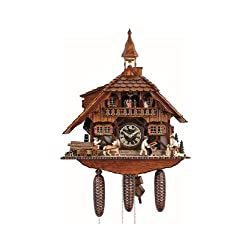 Cuckoo Clock Black Forest house with 2 moving wood choppers and mill wheel