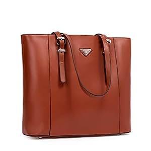 "BOSTANTEN Women Briefcase Leather Laptop Tote Handbags 15.6 inch Computer Shoulder Bags Brown Brown Medium (L)16.53"" x (W)4.72"" x (H)12.6"""
