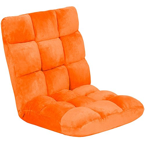 Folding Adjustable Memory Foam Cushioned Padded Gaming Floor Sofa Chair - Orange by OEY