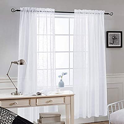 NICETOWN Linen Textured Sheer Curtains - Bedroom Window Privacy Translucent  Voile Sheer Drapes for Dining Room (52Inch Wide, 63 Inch Long, White, Set  ...