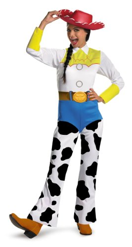 Adult Toy Story Jessie Costumes (Disguise Women's Disney Pixar Toy Story and Beyond Jessie Costume, White/Black/Blue/Yellow, Medium)