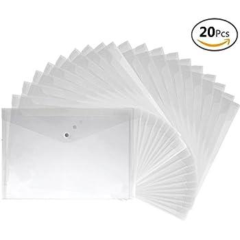 JUSLIN 20pcs A4 Size Premium Translucent Document Folders PVC Envelope with Snap Button Closure, Water & Tear Resistant