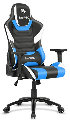 EasySMX Gaming Chair Racing Office Computer Game Chair, Ergonomic Backrest and Seat Height Adjustment Recliner Swivel Rocker with Headrest and Waist Tilting Electronic Sports Chair (Blue-Black-White)