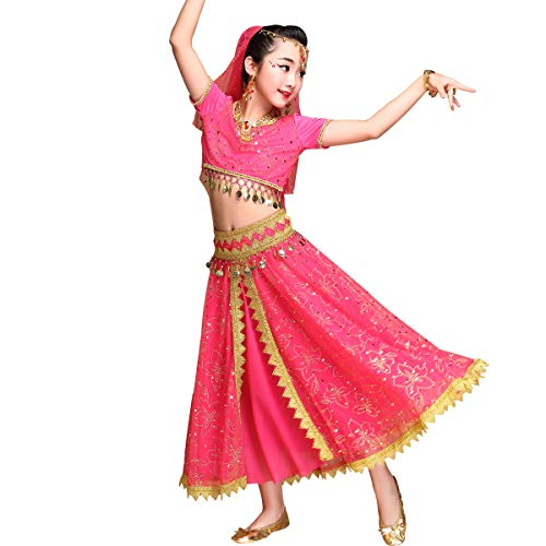 Kid's Belly Dance Chiffon Bollywood Costume Indian Dance Outfit Halloween Costumes with Coins 5 Pieces Sets(Fuchsia, Large) -