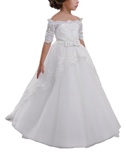 Elegant Flower Girl Lace Beading First Communion Dress 2-12 Years Old All White Size -