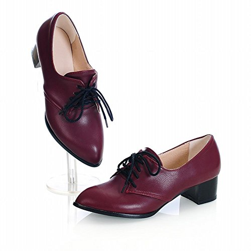 Mostrar Zapatos De Oxford Shine Mujeres Fashion Chunky Heel Para Mujer Wine Red