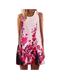 KpopBaby Dresses for Women, Women Summer Sleeveless Floral Printed Pockets Sundress Casual Swing Dress Summer Novelty
