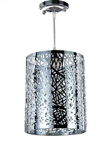 (Diamond Life 1-Light Chrome Finish Metal Shade Hanging Pendant Ceiling Lamp Fixture)