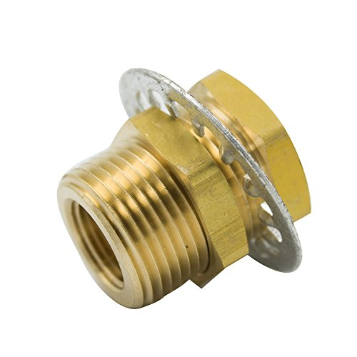 "Legines Brass Pipe Fitting, Bulkhead Anchor Coupling, Bulkhead Tank Fitting, Frame Nipple, 1/8"" NPT Female, 1-1/2"" Length (Pack of 2)"