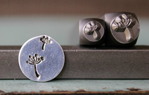 2 Stamp (6mm and 3.5mm) Dandelion and Dandelion Puff Metal Punch Design Jewelry Stamp Set by The Supply Guy