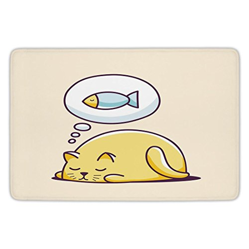 Bathroom Bath Rug Kitchen Floor Mat Carpet,Funny,Cute Kitty Dreaming A Fish Hungry Cat Sleeping Cheerful Character Cartoon Animal,Yellow Peach,Flannel Microfiber Non-slip Soft Absorbent by iPrint