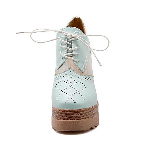 Ragazze Balamasa Scava Fuori Modello Leopardato Ornamento Pizzo Mescola Materiali Pompe-scarpe Blu