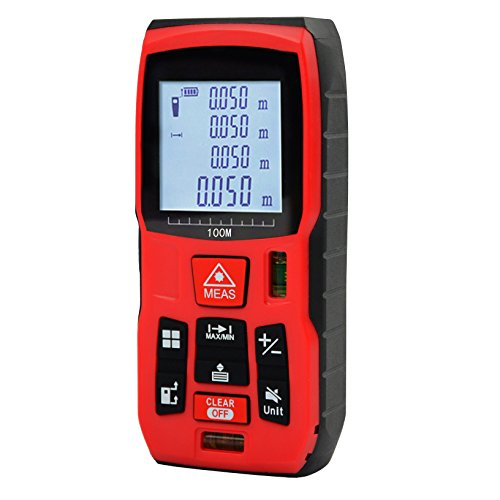 Qyuhe Laser Distance Meter 100M Measure Measuring Tool Measurement Device handheld with Mute Function and Backlit