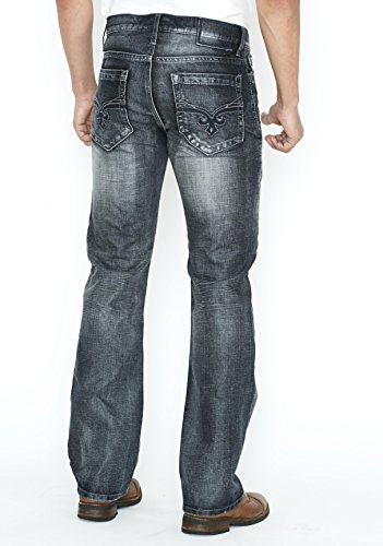 Slim Fit Bootcut Men's Jeans - Soft Comfortable Faded Denim Pants By Helix