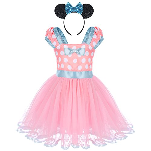IWEMEK Toddler Baby Girls Polka Dots Princess Birthday Party Fancy Costume Tutu Dress Up 3D Mouse Ears Headband 1-4T Pink Dress + Sequin Ear Headband 2-3 Years