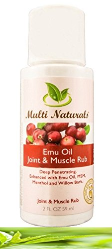 Emu Oil Joint & Muscle Rub with Aloe Vera, White Willow Bark, Wintergreen, Eucalyptus Oil, MSM from Multi Naturals- Penetrates quickly and Soothes Pain, Inflammation, Muscle Stiffness - 2oz