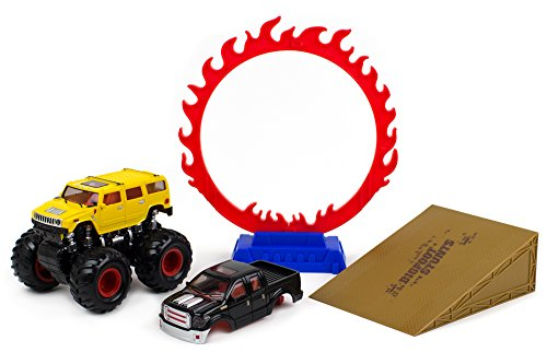 r Wheels – Off-Road Race Car – 4x4 Cross Country Vehicle Toy – 4WD Monster Truck – Friction Powered Monster Truck – Big Foot Truck Toy Red and Yellow (Monster Truck Jumping Cars)