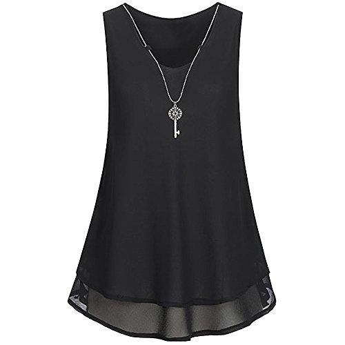 Rovinci Tops V Sommer Hemdbluse Shirt Chiffon Frauen Elegant Bluse Damen zurück Vorne Unregelmäßigkeit aushöhlen Unterhemd Ärmellos Ausschnitt Halskette mit Tank Schwarz Reißverschluss Weste T PwrAPxIqZ