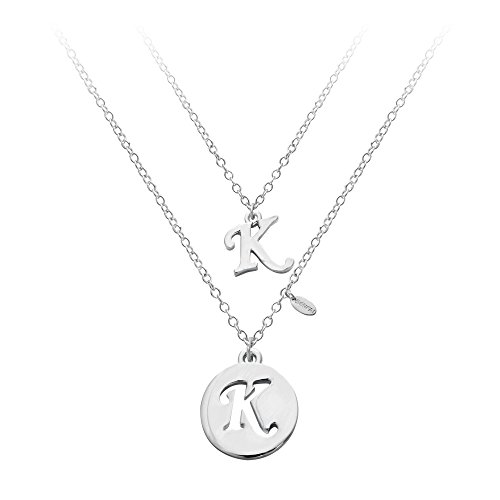 SENFAI Silver Two layers Alloy 26 Alphabet English Letters Initial Round Heart Tags Charms Pendant Necklace (K) - Initial Heart Charm Letter