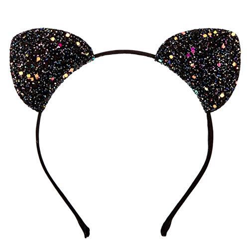 Girl's Black Glitter Cat Ears Headband]()