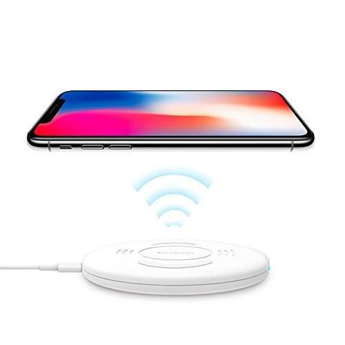 Yoobao Qi Wireless Charging Pad for iPhone X/8/8 plus, LG V30, Samsung S8/S8 Plus/S7/S6/S6 Edge, Google Nexus 7/6/5/4, Nokia Lumia 930, and More Qi-Enabled Devices - White - Executive Charging Station